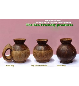 Eco-Friendly Usable Containers of Brass Broidered Coconut Shell Crafts of Kerala (Set of 3 pcs)