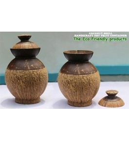 Eco-Friendly Dry Fruit Containers of Brass Broidered Coconut Shell Crafts of Kerala (Set of 2 pcs)