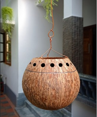 Eco-Friendly Handmade Black Flower Hanging Pot Brass Broidered Coconut Shell Crafts Of Kerala