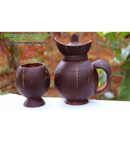 Eco-Friendly Mug & Cup of Brass Broidered Coconut Shell Crafts of Kerala (Set of 2 pcs)