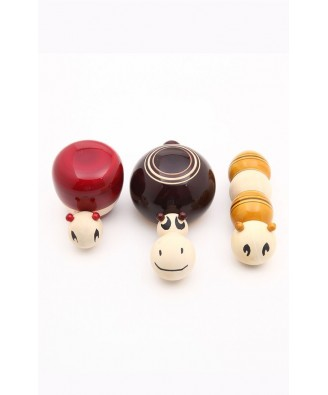 Beautiful Handicraft Channapatna Wooden Toys Design Set Of 3 For Playing, Decorating Purpose