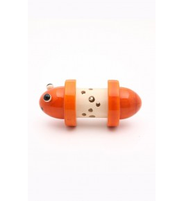 Wooden Channapatna Toys In White & Orange Colour Designed For Playing, Decorating Purpose