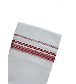 Traditional White Colour Cotton Dhoti With Red Border Kuthampully Saree