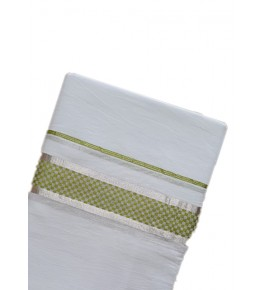 Traditional White Cotton Dhoti With Green Border Kuthampully Saree