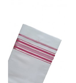 Bleach White Cotton Dhoti With Red Stripped Border Kuthampully Saree
