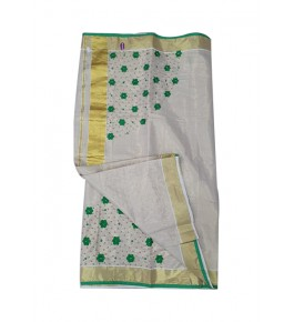 Traditional Cream Colour And Green Embroidery with Golden Border Kuthumpully Saree