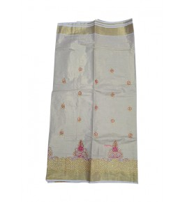 Traditional Cream Colour With Golden Border Kuthampully Saree for Women