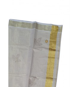 Traditional Cream Colour Simple Kuthampully Saree For Women