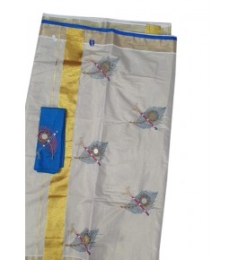 Ethenic Cream Colour Hand Woven Yellow Colour Bordered Kuthampully Saree For Women