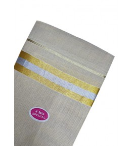 Cream Colour with Golden Border Dhoti Kuthampully Saree