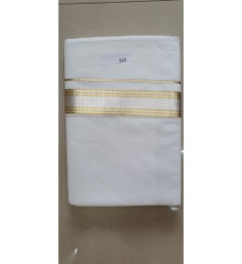 Bleach White Cotton Kuthampully Saree (Dhoti)   for Women