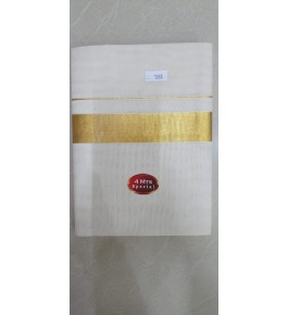 Ethnic Cream Colour Cotton Dhoti With Golden Border Kuthampully Saree