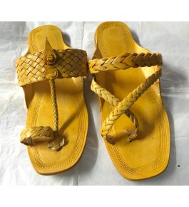 Handicraft Trendy Look Kolhapuri Chappals Design In Lemon Colour For Women
