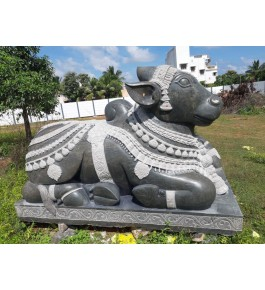 Authentic Handcrafted Lord Nandi Cow Mahabalipuram Stone Carving Showpiece For Decoration Event