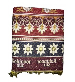 100% Cotton Premium Solapur Chaddar In Red Colour Floral Pattern For Room Decor
