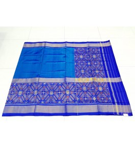 Gorgeous Handloom Blue Mix Colour Floral Pattern Rajkot Patola Saree Of Gujarat For Women