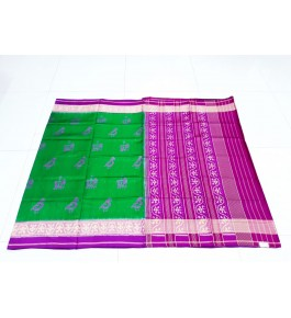 Gorgeous Handloom Light Green And Pink Mix Colour Floral Pattern Rajkot Patola Saree Of Gujarat For Women
