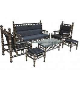 Astonishingly Beautiful Black Coloured Sankheda Sofa Set for Home Furnishing
