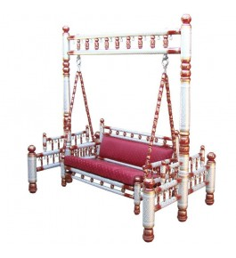 Beautiful Designer Red Jhula Wooden Swings  for Home & Garden Floor-Standing
