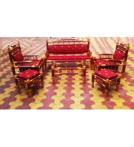 Astonishingly Beautiful Red Coloured Sankheda Darbari Sofa Set for Home Furnishing