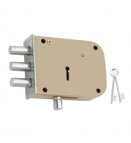 Beautiful 3 Bullet Aligarh Lock with 2 Keys for Home Security