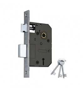 2 Tone Finish Mortice Complete Set with 2 Handles, Brass Mortice Aligarh Lock ,3 Keys, Screws & Spindle for Doors