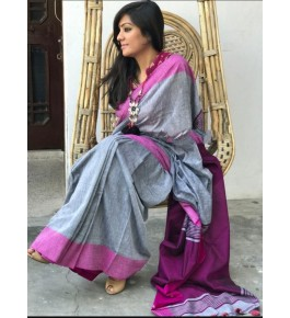 Santipur Plain Khadi Grey & Purple Border Saree with Blouse for Women