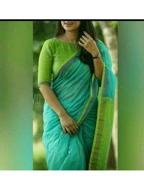 Santipur Handloom Turquoise & Green Zari Linen Saree with Blouse for Women