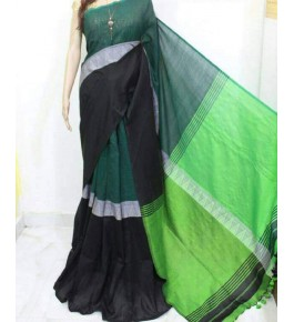 Santipur Madhyamani Black Green & Parrot Green Saree For Women