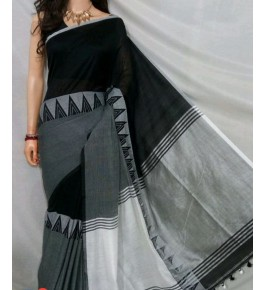 Santipur Madhyamani Black & Grey Saree For Women