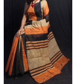 Santipur Cotton Stripped Orange Black & Cream Colour Silk Saree For Women