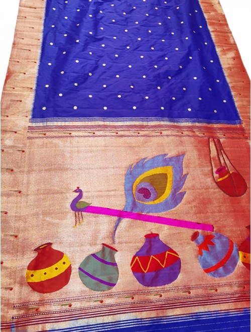 Royal Blue Paithani Saree With Peacock & Flute Designer Anchal