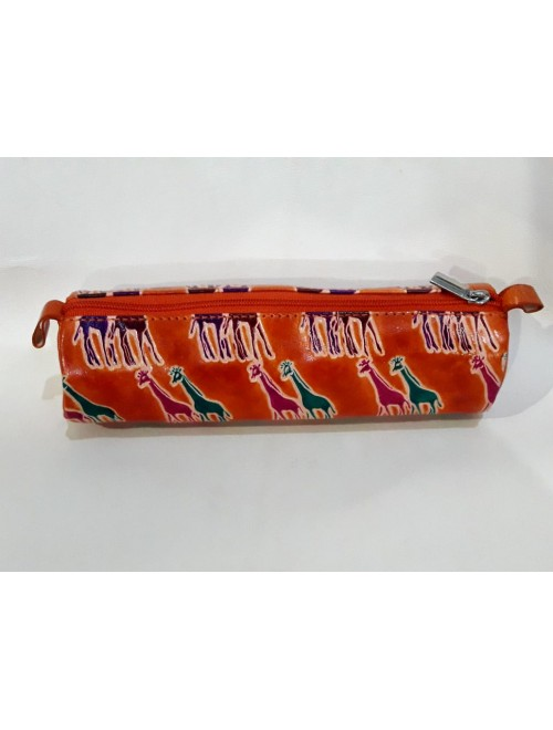 Round Pencil Box Pure Santiniketan Leather in Red for Gifting