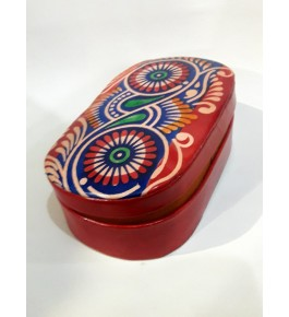 Oval Shaped of Pure Soft Santiniketan Leather Box Batik for Gifting