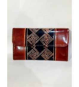 Block Designed Pure Soft  Santiniketan Leather Wallets  for Women