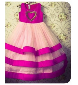 Silk & Tulle Princess Pink Color Gown For Kids By Ellys