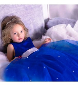 Very Beautiful Frozen Theme Dress With Big Flair For Kids By Ellys
