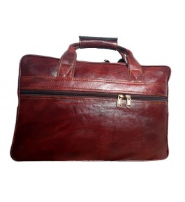 Kanpur Leather Premium Folder Bag in Red Brown Color