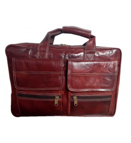 Kanpur Leather Premium Laptop Bag in Red Brown Color