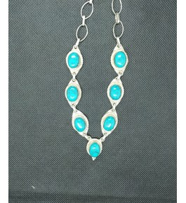 Beautiful Silver Metal Designer Pendant Studded With Bright Sky Blue Small Agate Stone In Ring Chain For Woman