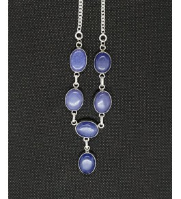 Beautiful Blue Color Agate Natural Stone Necklace With Silver Metal Chain
