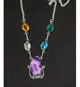 Beautiful Pendant Studded With Natural Different Colors Agate Stone In Silver Metal Chain