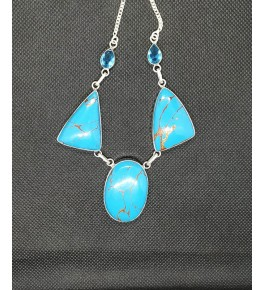 Attractive Necklace Studded With Natural Sky-Blue Tringle Locket Agate Stone In Silver Metal Chain