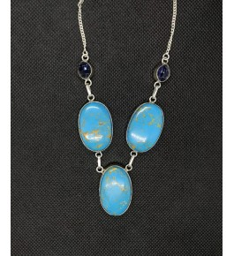 Attractive Necklace Studded With Natural Sky-Blue 3 Round Locket Agate Stone In Silver Metal Chain