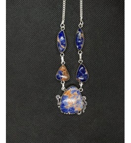 Beautiful Silver Metal Designer Locket Pendant Studded With Blue Agate Stone For Woman