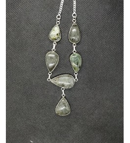 Beautiful Silver Metal Pendant Studded With Green Agate Stone For Woman
