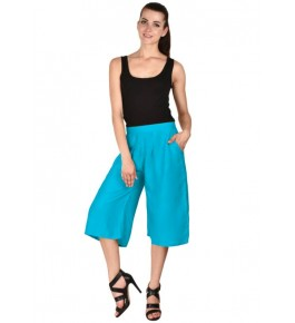 MS Bottom Trendy Blue Rayon Culottes For Girls & Women