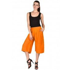 MS Bottom Solid Orange Rayon Culottes For Girls & Women