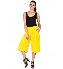 MS Bottom Yellow Rayon Casual Culottes For Girls & Women
