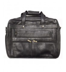 Traditional Manufactured East India Leather Office Bag In Black Colour For Men
